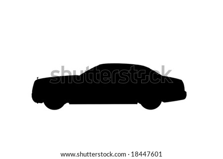Silhouette of Rolls Royce 101EX over white background - stock photo