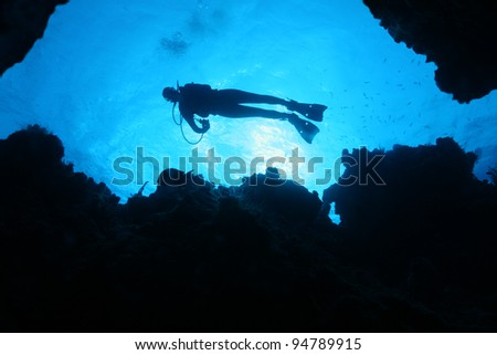 Silhouette of Scuba Diver  Over a Coral Reef - Cozumel Mexico