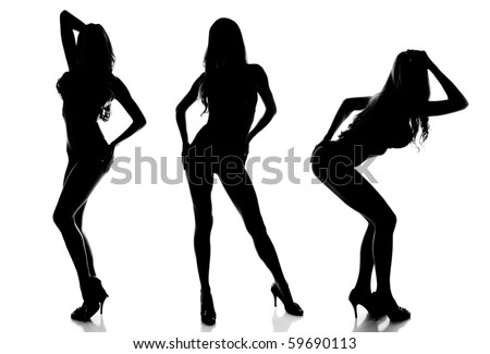 Silhouette of 3 Sexy Women Modeling - stock photo
