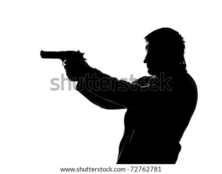 Silhouette of shooting man. Isolated on white