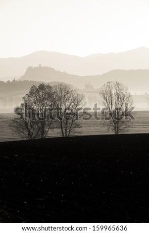 silhouette of  Spis castle, Slovakia - sepia tone image - stock photo