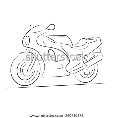 Silhouette of sport motorbike over white background for your design - stock photo