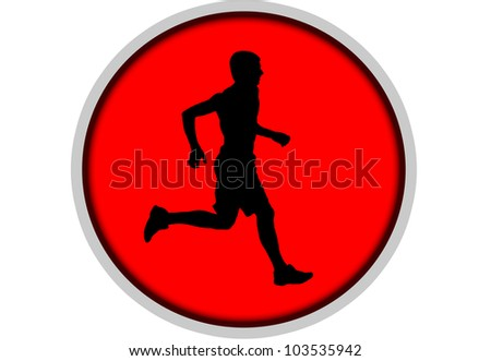 Silhouette of sportsman - stock photo