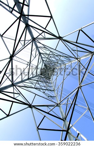 Silhouette of steel transmission line tower