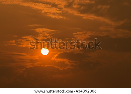 Silhouette of sun evening. - stock photo
