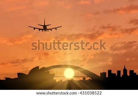 Silhouette of Sydney and the plane coming in to land. tourism and recreation concept - stock photo