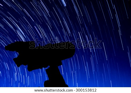 Silhouette of Telescope. - stock photo