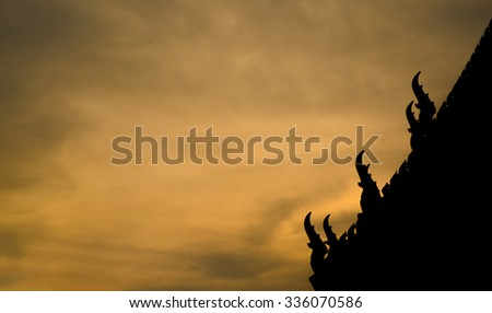 silhouette of temple at sunset time (vintage tone, public temple)
