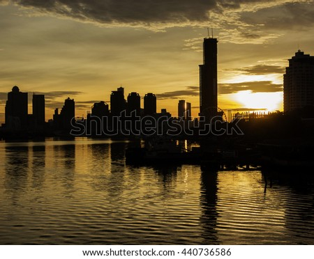 Silhouette of the building in the morning light in Bangkok, Thailand