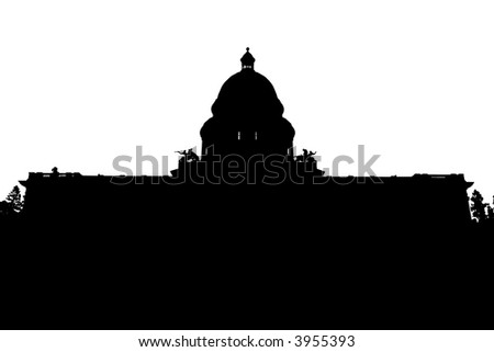 Silhouette of the California state capitol building - stock photo