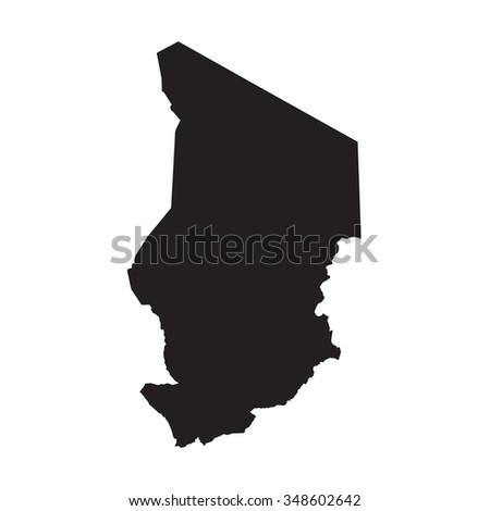 Silhouette of the Country Chad