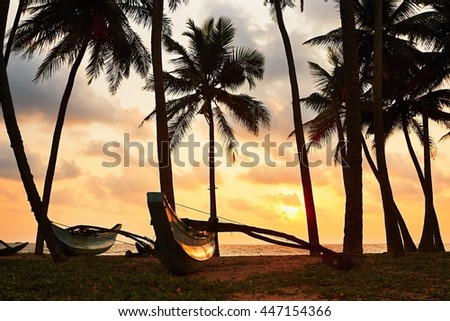 Silhouette of the fishing boats under palms. Idyllic sunset on the beach near Hikkaduwa in Sri Lanka. - stock photo