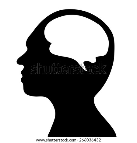 silhouette of the head and  brain. process of human thinking. The concept of intelligence. People communication with the outside world.  - stock photo
