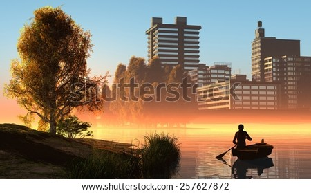 Silhouette of the man in a boat  - stock photo