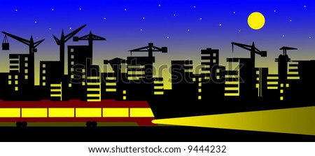 silhouette of the night city - stock photo