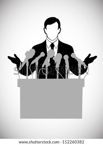 silhouette of the person addressing public at a microphone - stock photo