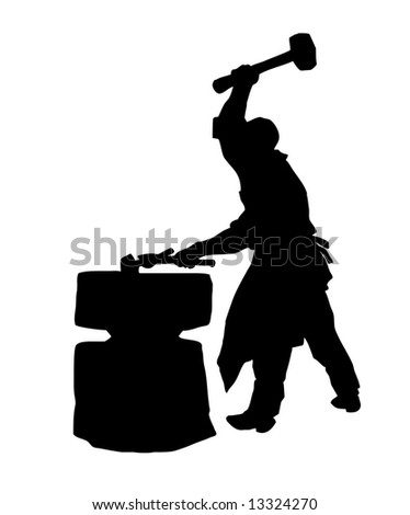 silhouette of the smith on white background - stock photo
