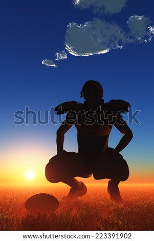 Silhouette of the sportsman on a sky background.
