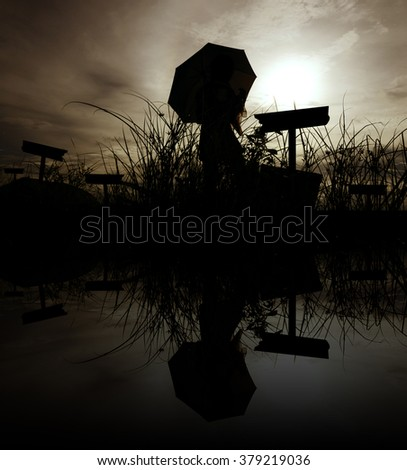 Silhouette of the woman standing lonely at the field during beautiful sunset - stock photo