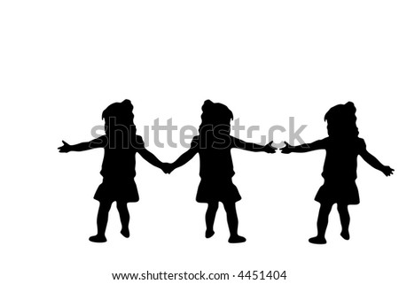 Silhouette of three girls joining hands. - stock photo