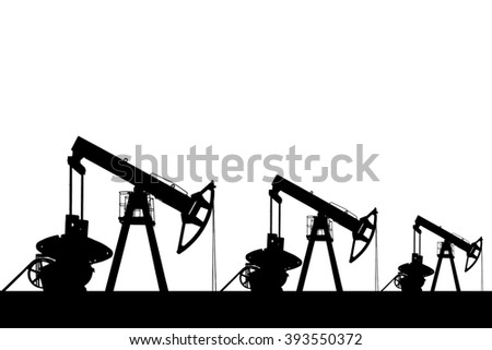 Silhouette of three oil pumps on white background.