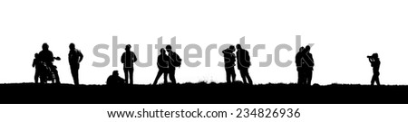 Silhouette of tourists. Travel team isolated on white background