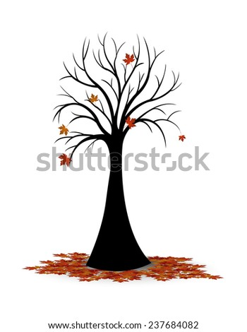 Silhouette of tree leaves falling in autumn - stock photo