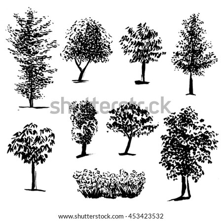 Silhouette of trees set 1, ink painting - stock photo