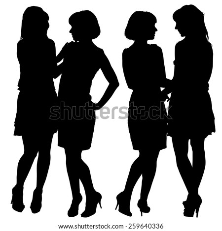 silhouette of two young slender women on the white background for your design - stock photo