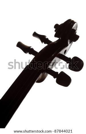Silhouette of violin - stock photo