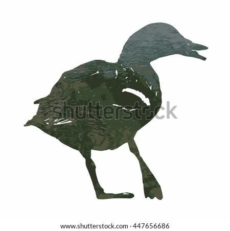 Silhouette of wild mallard duck filled with rippled water surface. Graphic scene. Natural theme. Bird theme. Cutout stencil animal. Green reflections.