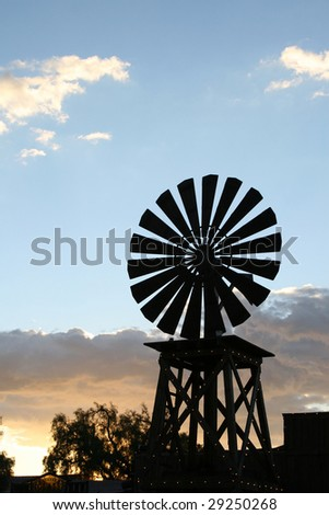 silhouette of windmill - stock photo