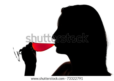 Silhouette of woman degusting wine. Isolated on white - stock photo