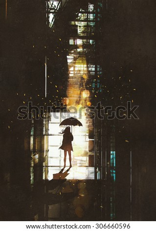 silhouette of woman with umbrella standing at window with bright light from outside,illustration painting - stock photo