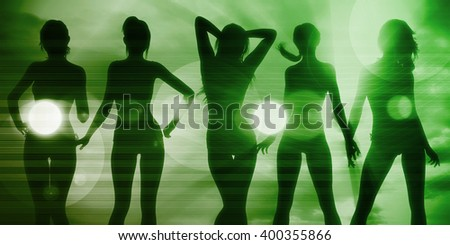 Silhouette of Women Posing at the Beach Together - stock photo