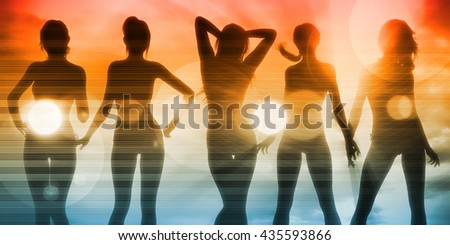 Silhouette of Women Posing at the Beach Together 3d Illustration Render - stock photo