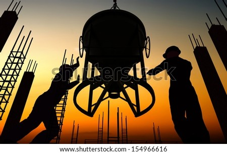 Silhouette of worker and construction - stock photo