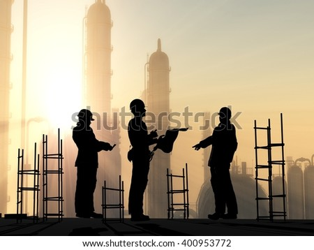 Silhouette of worker at the plant, 3d render - stock photo