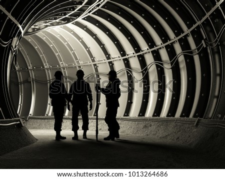 Silhouette of workers in mine, 3d render