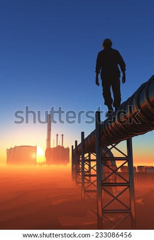 Silhouette of working on the pipe. - stock photo