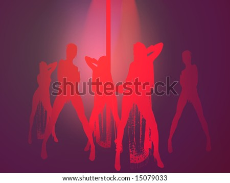 Silhouette of young adult women in striptease club - stock photo