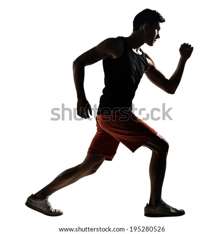 Silhouette of young Asian athlete running, full length portrait isolated on white. - stock photo
