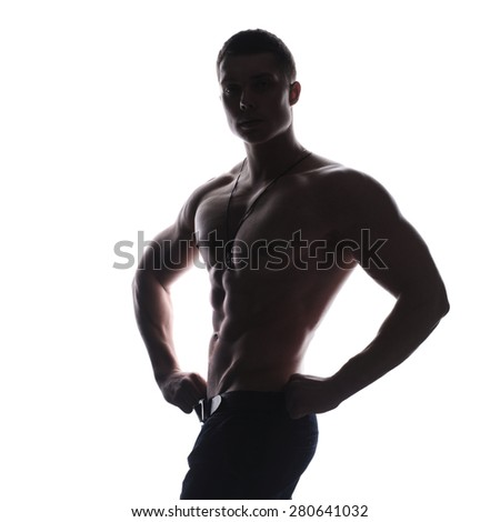Silhouette of young athlete bodybuilder man isolated over white background - stock photo
