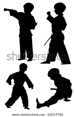 silhouette of young boy in different martial arts poses - stock photo