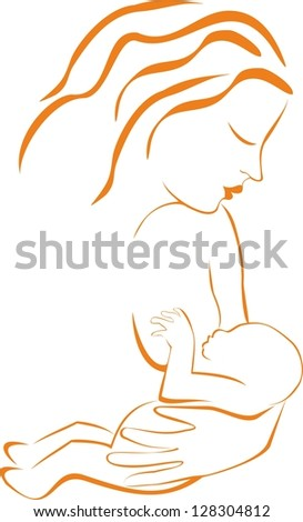 Silhouette of young woman breastfeeding her baby - stock photo