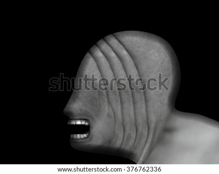 Silhouette outline of a grotesque blind man's head with an open mouth and folded skin for the concept of freak. - stock photo