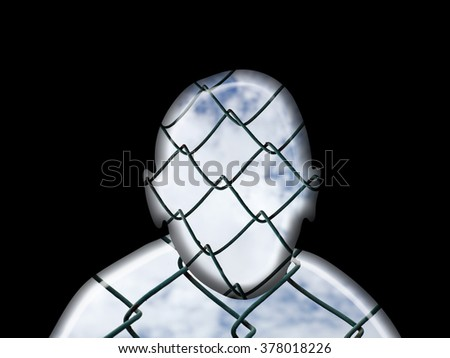 Silhouette outline of a man's face wrapped with a chain-link fencing over a cloudy sky for the concept of refugee. - stock photo