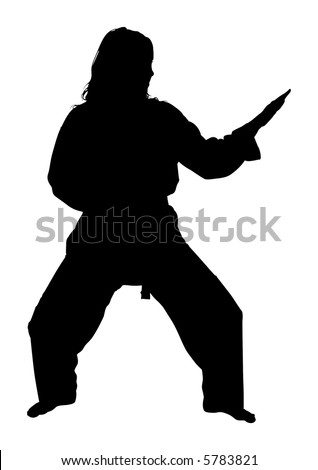 Silhouette over white with clipping path. Full body woman doing martial arts. - stock photo