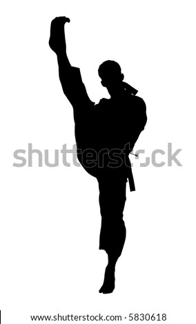 Silhouette over white with clipping path. Man kicking.