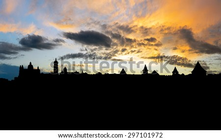 silhouette panorama  castle - stock photo